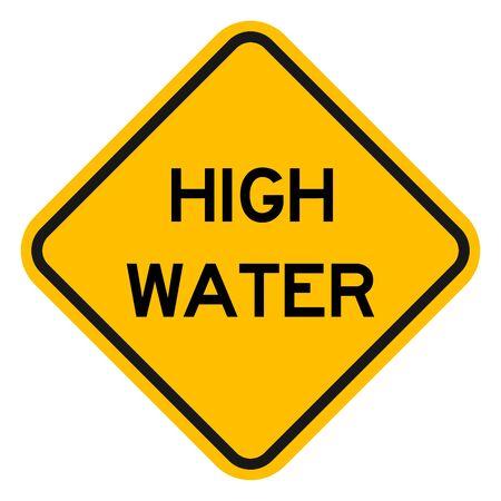 High water caution sign vector. Flood water roadways warning symbol yellow diamond board. Vetores