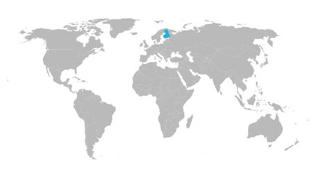 World map highlighted finland with blue color vector illustration. Gray background.