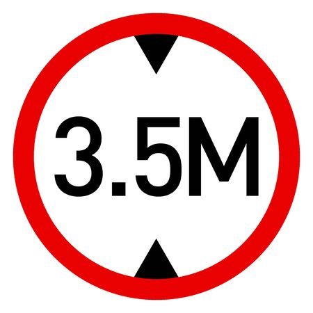Height limit traffic sign vector illustration. Red circle sign found near that pass under bridges, railway lines etc.
