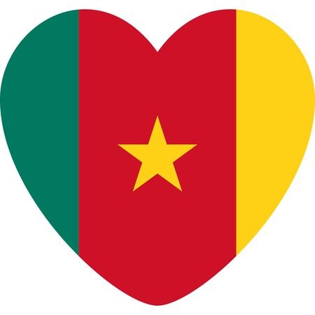 Cameroon flag heart shape icon vector illustration. Perfect for Sticker, sign, symbol, label, icon, button etc.