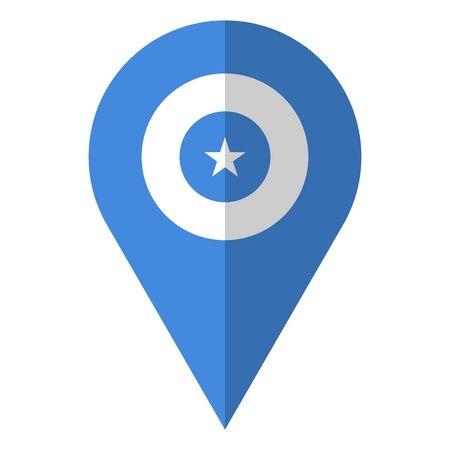 Somalia flag location map pin icon vector illustration design.