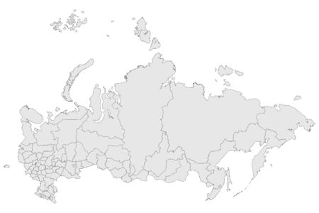 Russian federation political map vector illustration. Asian country russia map. Light gray color background.