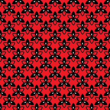 Abstract lilly flower with six petals seamless pattern vector background. Red, black, white.