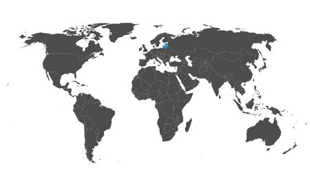 Baltic states Latvia, Estonia, Lithuania highlighted blue on world map vector. Gray background.