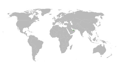 UAE highlighted with green on world map vector illustration. Gray background. Gulf country.