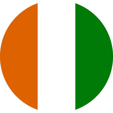 Ivory Coast round flag vector. Perfect for business concepts, sticker, poster, icon, sign, symbol etc.