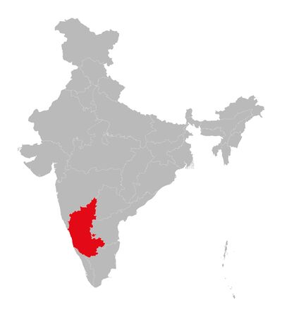 Karnataka map highlighted red color on india map vector illustration. Light gray background. Perfect for business concepts, backdrop, backgrounds, label, sticker, chart etc.