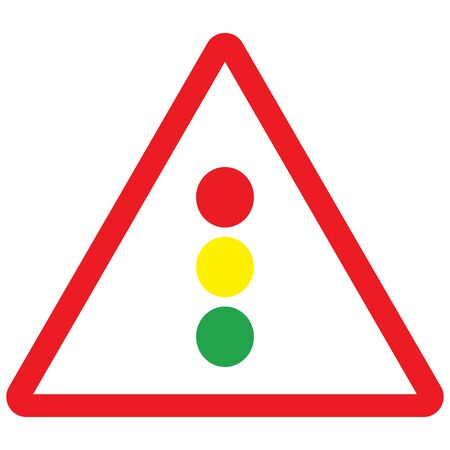 Traffic signal sign vector illustration. Red triangle background.