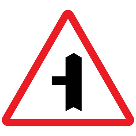 Side road left traffic sign vector. Red triangle background. Warning traffic signal.