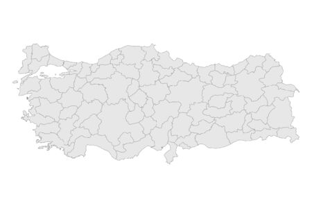 Turkey political map provinces highlighted gray vector illustration. Perfect for backgrounds, backdrop, education, chart etc.