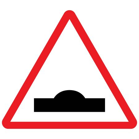 Bump speed breaker sign. Traffic symbol vector illustration. Red triangle background. Great for sticker, label, symbol, sign, icon etc. 矢量图像