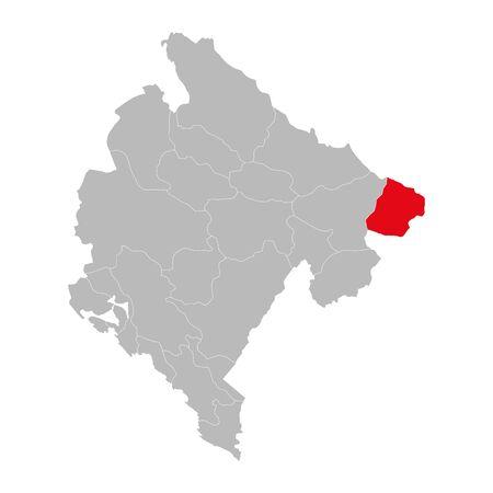 Rozaje province highlighted on montenegro map. Gray background. Çizim