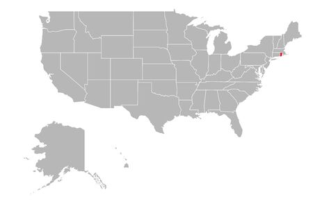 Rhode island highlighted on USA political map. Gray background.