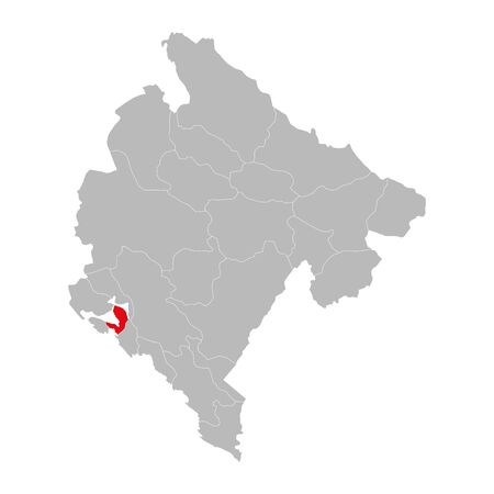 Tivat province highlighted on montenegro map. Gray background. Ilustração