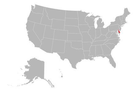 Delaware highlighted on USA political map. Gray background.