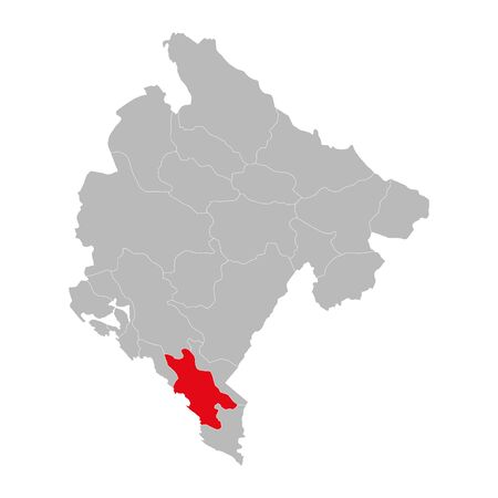 Bar province highlighted on montenegro map. Gray background. Ilustração