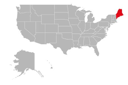 Maine province highlighted on USA political map. Gray background.