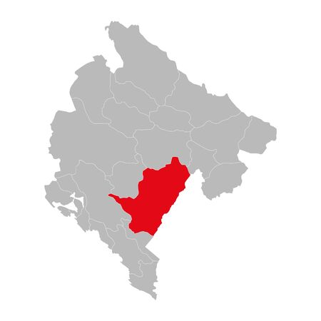 Podgorica province highlighted on montenegro map. Gray background.