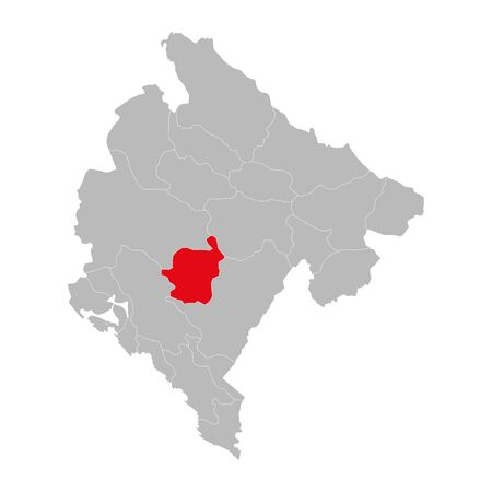 Danilovgrad province highlighted on montenegro map. Gray background.