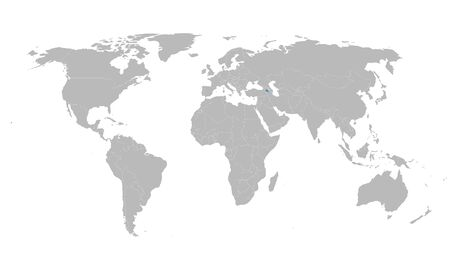 Armenia country highlighted blue on world map. Gray background. Ilustração