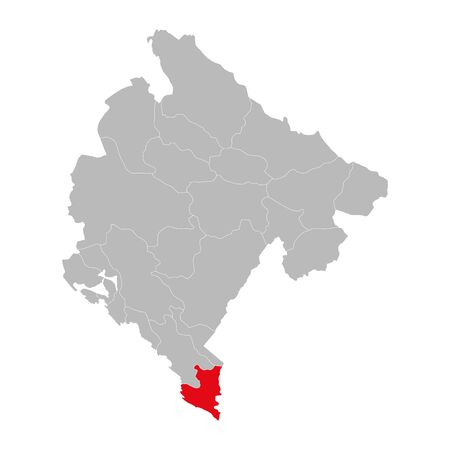 Ulcinj province highlighted on montenegro map. Gray background.