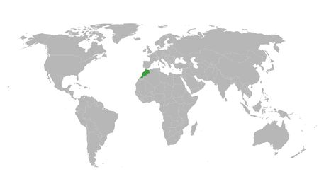 Morocco highlighted green on world political map. Gray background.