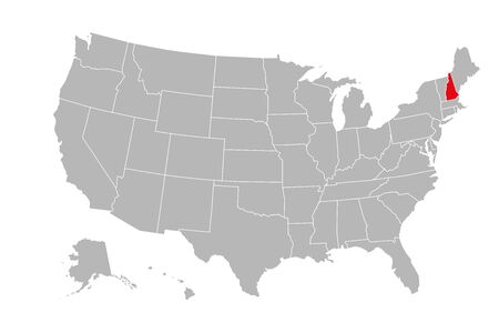 New hemisphere province highlighted on USA political map. Gray background.