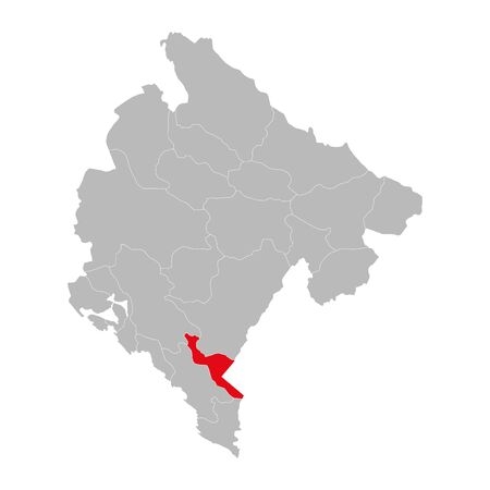 Skadar lake province highlighted on montenegro map. Gray background.