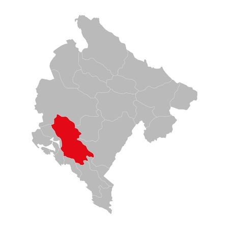 Cetinje province highlighted on montenegro map. Gray background. Ilustração