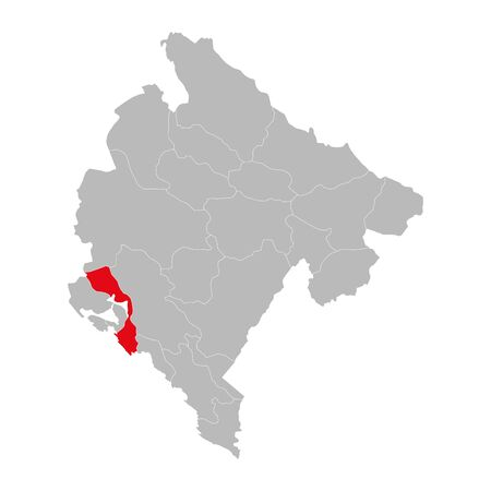 Kotor province highlighted on montenegro map. Gray background.