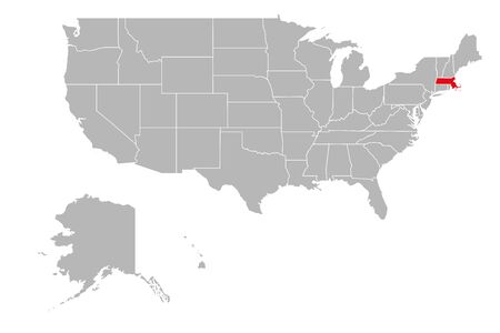 Massachusetts highlighted on USA political map. Gray background. Ilustração