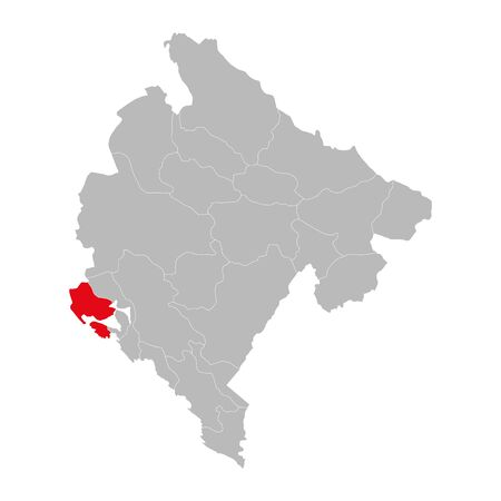 Herceg novi province highlighted on montenegro map. Gray background.