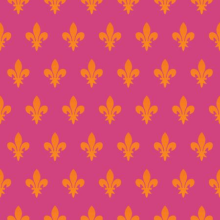 Modern fleur de Lis seamless pattern vector. Pink, orange. Perfect for Fabric designs, backgrounds, backdrop, poster, sticker, banner, label, and wallpaper.