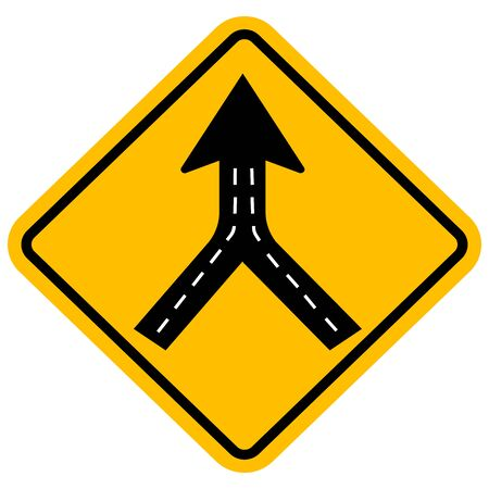 Warning sign two way road merge. Traffic symbol. Yellow background.
