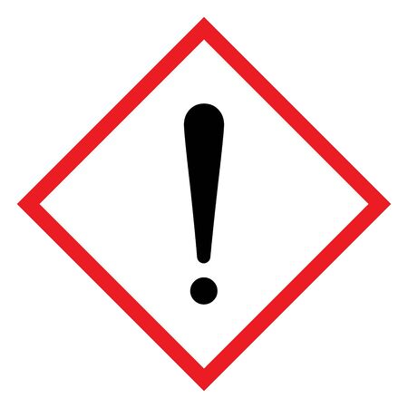 Exclamation mark. Hazardous to the ozone layer. CLP Hazard sign. Diamond shape red border and white background. Perfect for backgrounds, backdrop, sign, icon, symbol, poster, sticker, label and wallpapers.
