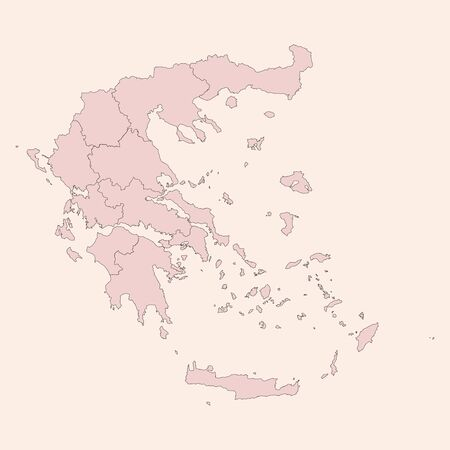 Greece political map with provinces vector graphics design. Vintage pink shade background vector. Perfect for business concepts, backgrounds, backdrop, banner, poster, sticker, label and wallpapers.