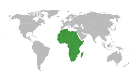 African union member states highlighted on world map. Perfect for Business concepts, backgrounds, backdrop, banner, charts, label, sticker and wallpapers.