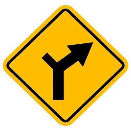 Side road curve traffic sign vector. Perfect for backgrounds, backdrop, banner, sticker, label, poster, sign, symbol etc. Vecteurs