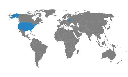 Belarus, USA counties map highlighted on world map. Gray background. Business concepts trade, economic foreign relations.