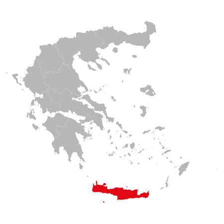 Crete island highlighted red color on greece map vector. European country. Gray background.