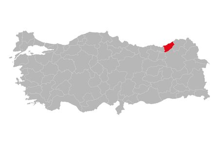 Rize province marked red color on turkey map vector. Gray background. 矢量图像