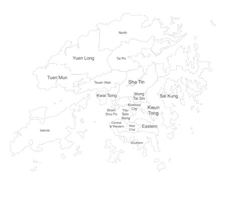 Hong kong map with name labels. Political map. Perfect for business concepts, backgrounds, backdrop, poster, sticker, banner, label and wallpaper.