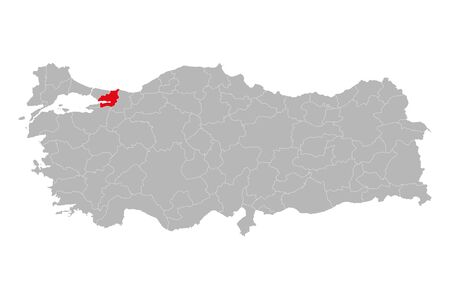 Kocaeli province marked red color on turkey map vector. Gray background.