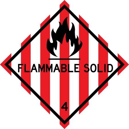 Flammable solid sign. Dangerous goods placards class 4. Perfect for transport vehicles, backgrounds, backdrop, sticker, label, sign, symbol and wallpapers.