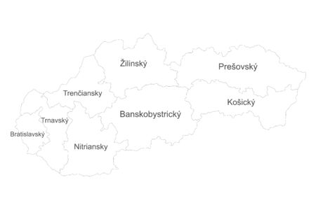 Slovakia detailed map with name labels. Perfect for business concepts, backgrounds, backdrop, poster, sticker, banner, label and wallpaper.