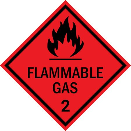 Flammable gas caution sign. Dangerous goods placards class 2. Black on red background.