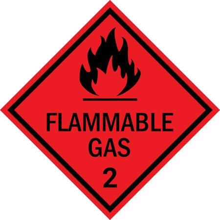 Signe de mise en garde contre les gaz inflammables. Plaques de marchandises dangereuses classe 2. Noir sur fond rouge. Vecteurs