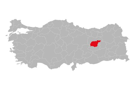 Tunceli province highlighted on turkey map vector. Gray background.