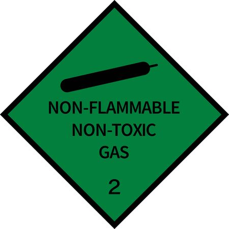 Dangerous goods placards class 2. Non-flammable gas sign. Green on black. Illustration