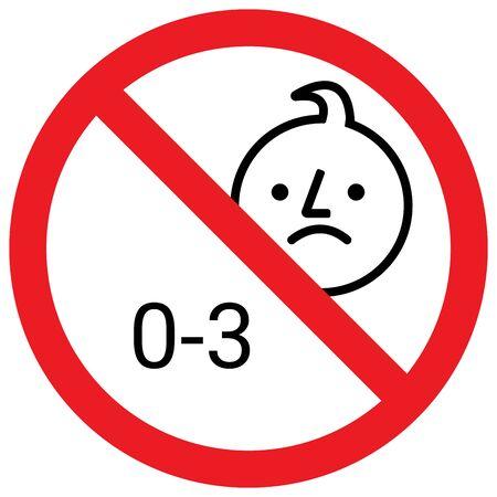 Ne convient pas aux enfants de moins de 3 ans. Signe d'interdiction. Parfait pour les concepts d'entreprise, les arrière-plans, la toile de fond, l'affiche, l'autocollant, la bannière, l'étiquette, l'icône, le signe, le symbole et le papier peint. Vecteurs